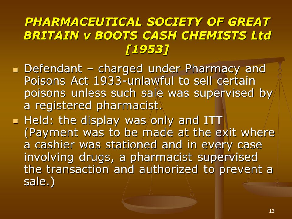 PHARMACEUTICAL SOCIETY OF GREAT BRITAIN v BOOTS CASH CHEMISTS Ltd [1953]